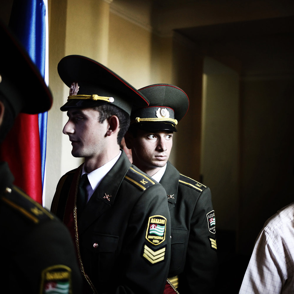 A soldier before the commemoration of the 5th year of the recognition of Abkhazia by Russia.