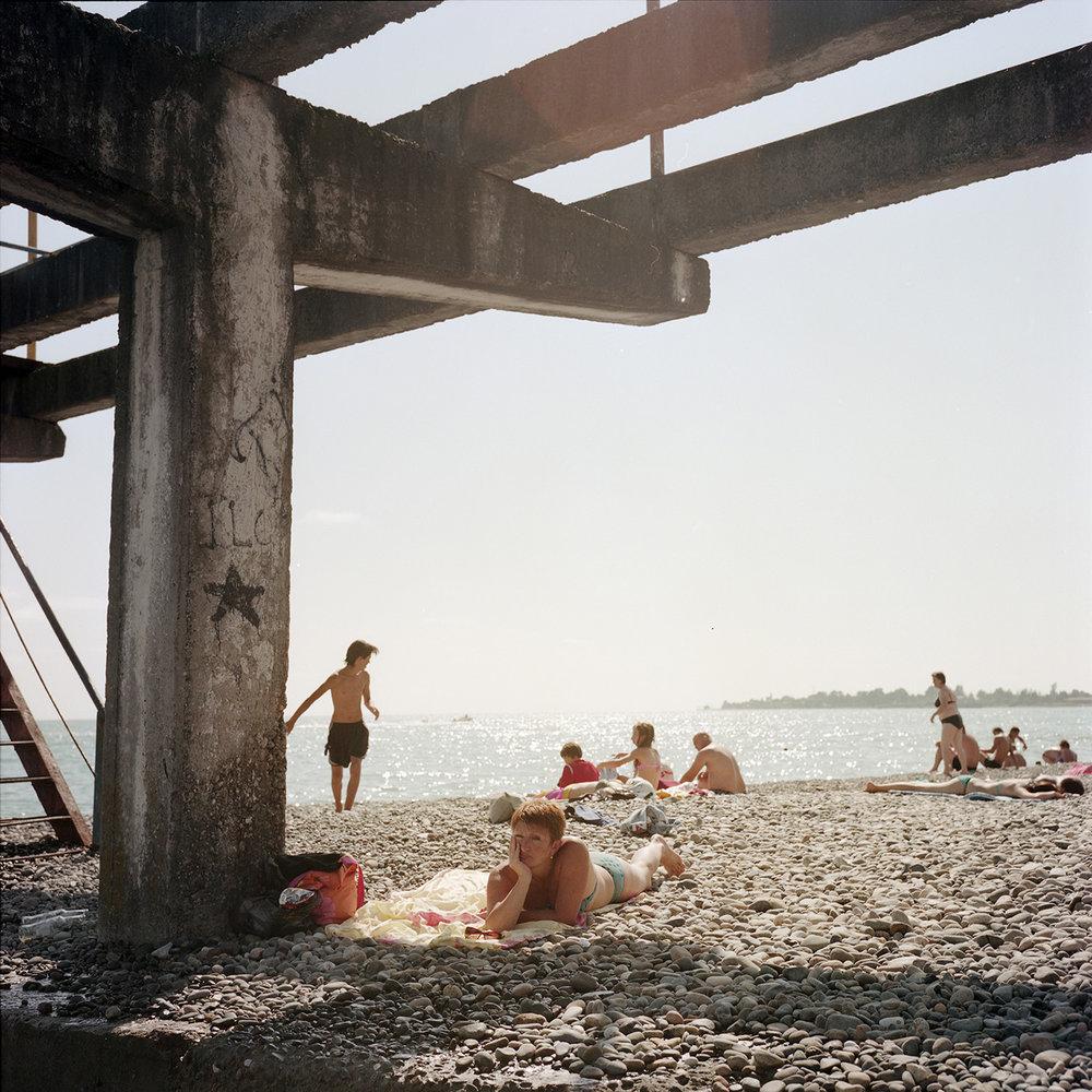 Tourists on the Sukhum(i) Beach.