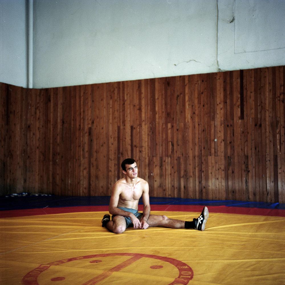 A wrestler in Gudauta. Wrestling is the national sport of Abkhazs.