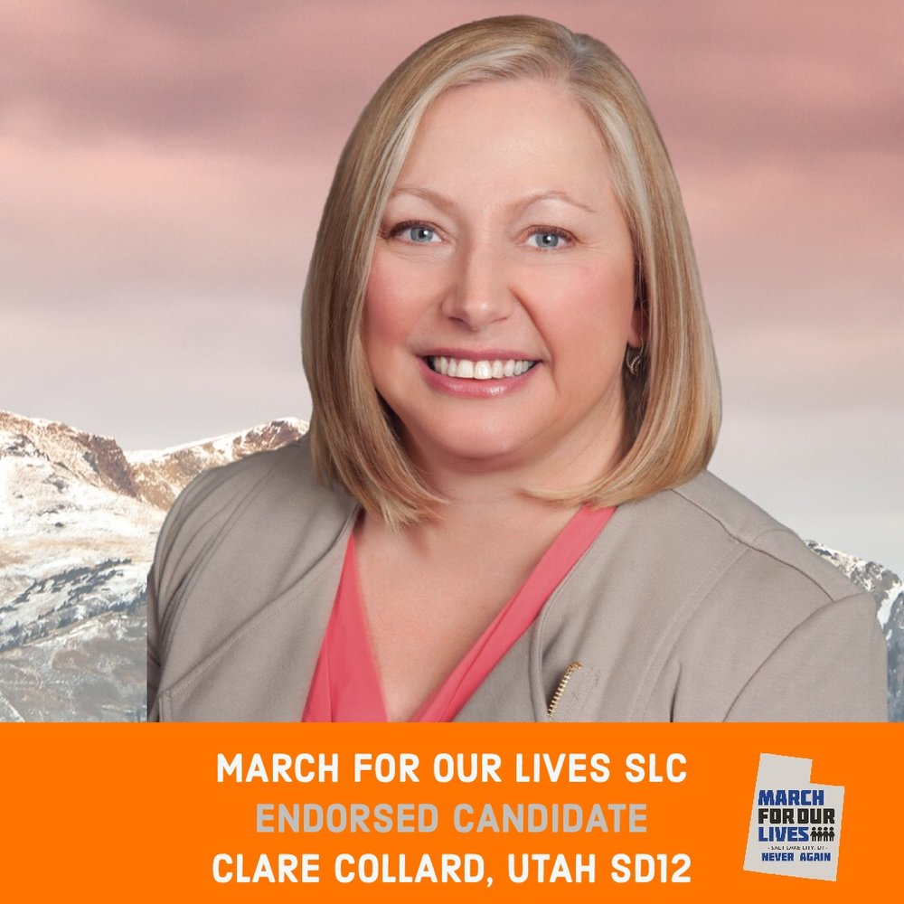 CLARE COLLARD (D)    GRADE: A-   Utah Senate District 12  www.electclarecollard.com