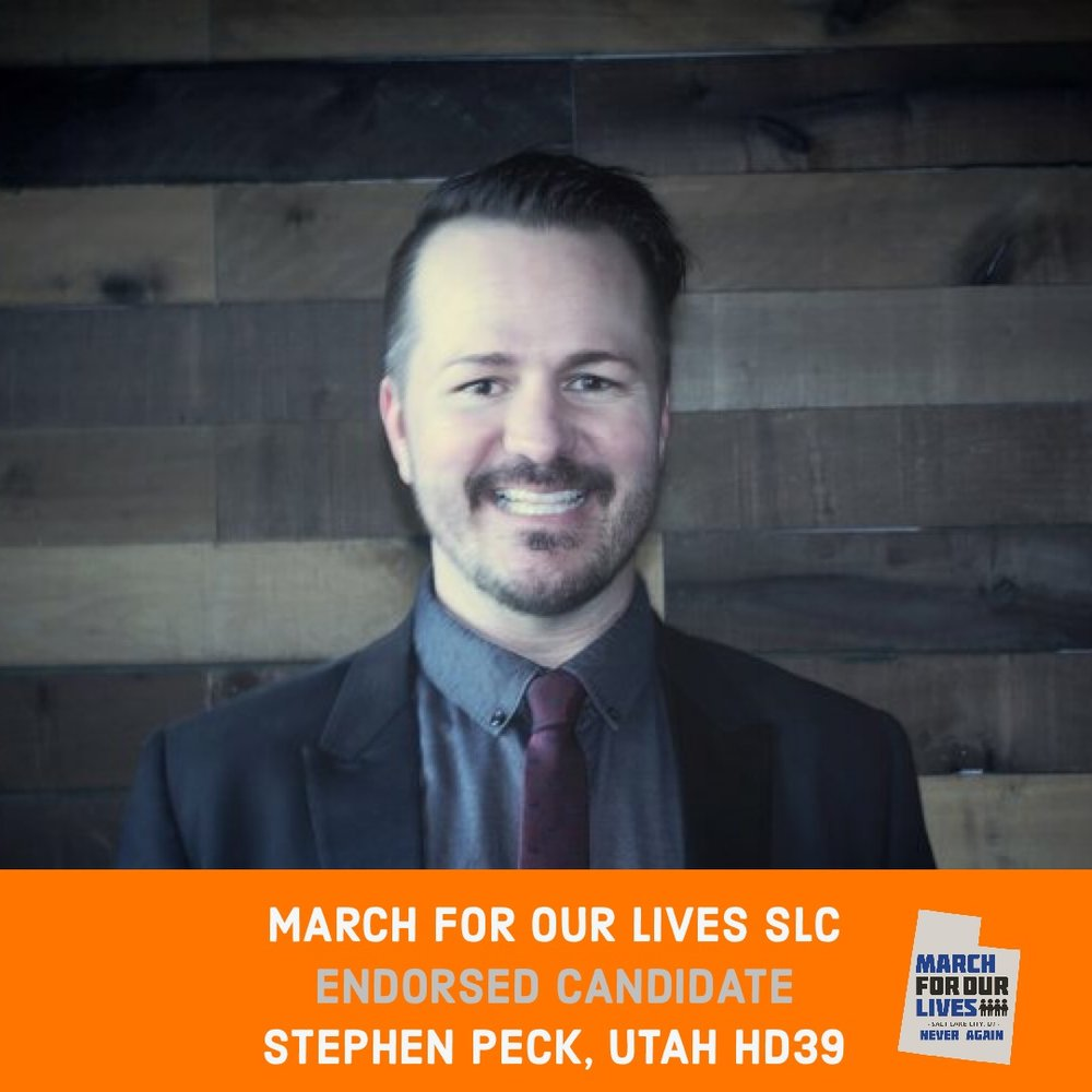 STEPHEN PECK (D)    GRADE: A+   Utah House District 39  www.votestephenpeck.com