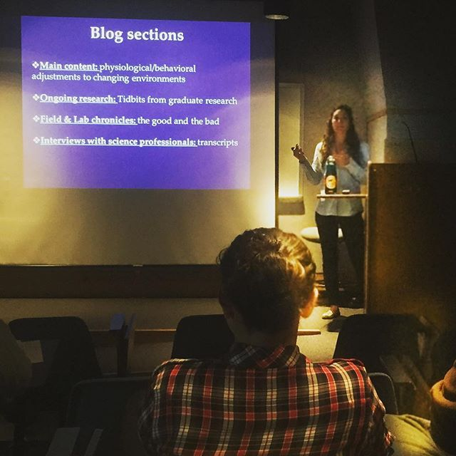 Check out @k10demo talking up #animalslivingwithchange to the #naturalresourcesscience department @universityofri  Any scientists 👩‍🔬👩‍🏭👨‍🔬👨‍🏭or #scicomm people out there interested in contributing to the blog? Click the link in our bio! . . . #scienceblogging #animalsofinstagram #sciencecommunication #nrs #physeco #physiologicalecology #ecology #womeninscience #sciencematters #communication #animalkingdom