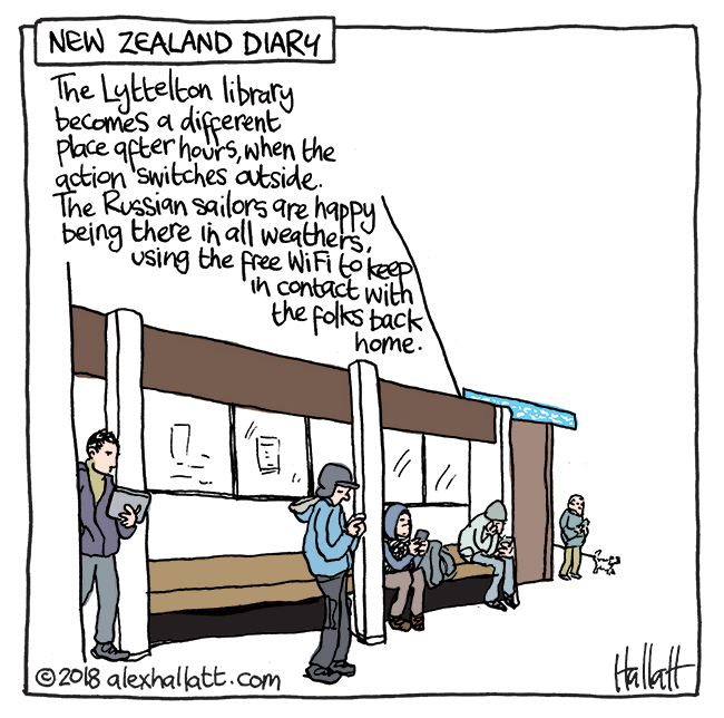 The Lyttelton library becomes a different place after hours when the acting switches outside. The Russian sailors are happy being there in all weathers using the free Wi-Fi to keep in contact with the folks back home-Doodle-NZdiary-41.png