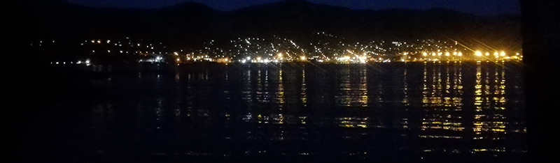 Looking back to Lyttelton from the wharf at night.