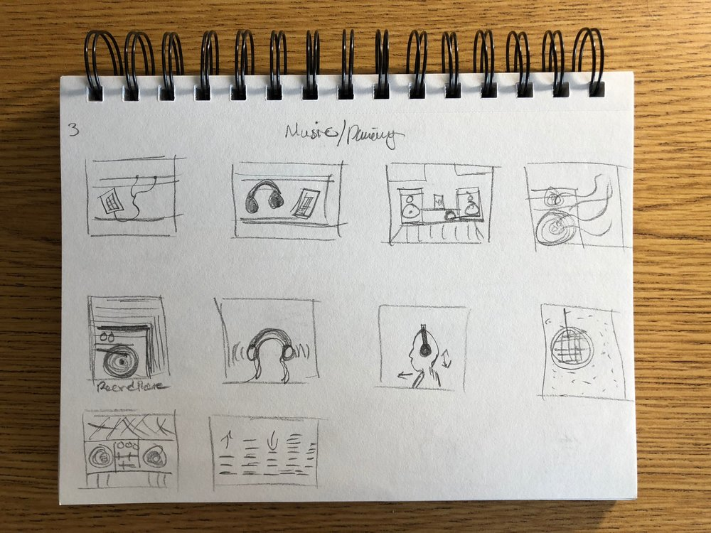 Initial Ideas/Sketches - I was inspired by several animations that created a desire to animate something that could express things about myself while at the same time promoting my creative abilities. Through this process, I wanted to encourage a new way of looking at the world through my eyes while at the same time exploring talents with Adobe After Effects.Shown are a few of my sketches of each storyboard that I had planned in my mind. The animation wasn't going to be longer than 30 seconds, and in turn, I felt that five storyboards would be sufficient to fill my desired amount of time. These sketches provided me with the general layout and ideas of each of the storyboards which I found useful to remove the first mess of ideas.
