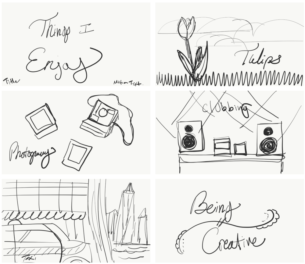 Storyboards - From my sketches, I was able to produce the main storyboards needed for my animation. Granted each of these is a rough sketch/layout of how everything would be arranged but it gave me what I needed to produce the beginnings of the animation movements. This helped me to see what, how and when things would move.