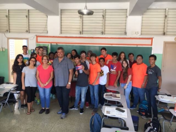 Mel after speaking to the senior class of Colegio San Conrado in October