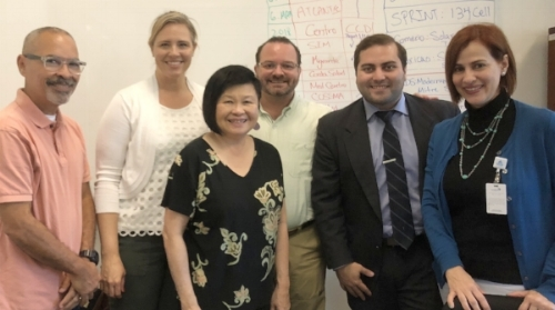 Meeting with the hardworking team from Puerto Rico Primary Care Association Network.  (From left: Julian Sanchez, Marci Harris, Mei Lin Fung, Javier Jimenez,  Ruben Bras and Ivette A. Seguí Rodríguez)