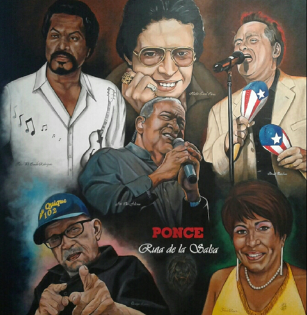 """""""Ponce, la Ruta de la Salsa"""" by Ramon E. Rivera; Top row from left to right is """"Pete el Conde"""" Rodriguez; Hector Lavoe; and Ismael Quintana; in the center is Jose """"Cheo"""" Feliciano; lower left is Don Quique Lucca; and lower right is Yolanda Rivera."""