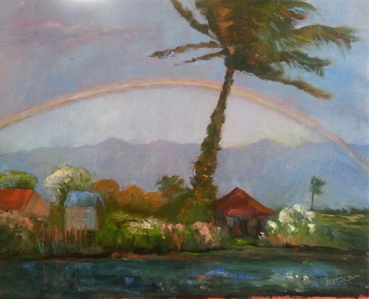 GOOD FORTUNE  16x20, oil on linen, unframed, $1,111  Ah, the rainbow! They are breathtaking, magical and make us feel like a kid again when we see one. They have great transformative power and are a bridge between heaven and earth.