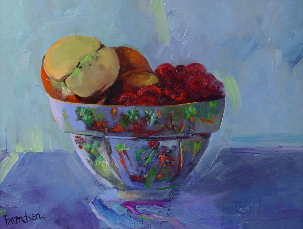 PROSPERITY  9X12, oil on board, unframed, $555  The apple's symbolism that I connect with is wisdom. Raspberries are a symbol of kindness which originates in the heart. This sweet painting holds these messages from nature in a sacred Chinese bowl with the Phoenix, songbirds and flowers which depict rebirth, life, prosperity.
