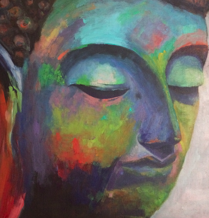 BUDDHA / SOLD  16x16, unframed, acrylic on canvas, $888  The Buddha taught compassion and having the strength and courage to care deeply about yourself and others. This painting is a powerful portrait of contemplation and the Way of the Heart. It brings courage and commitment into your life and helps dissolve the ego.