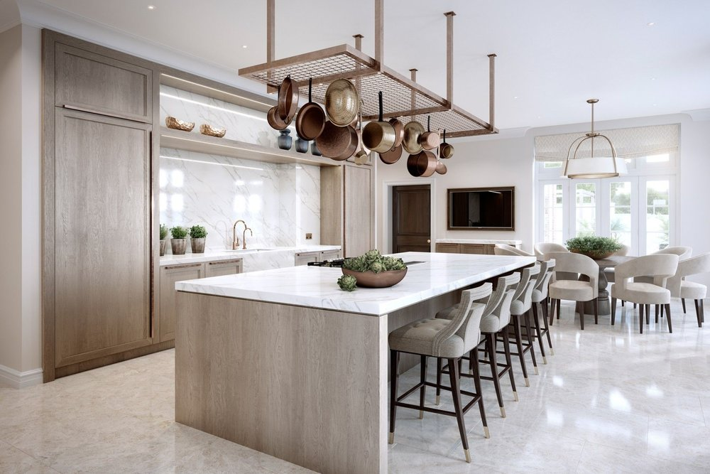 Contemporary kitchens - Contemporary kitchens can be very sleek, but while a purely modern kitchen often celebrates structure and grid, a contemporary kitchen is often more playful in form and finishes, including elements of other styles and creating its own reflection of the times.