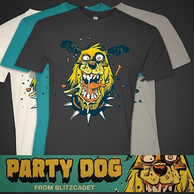 🐶💥🍗Last chance to grab a shirt! Orders end at noon EST! $25 plus s&h - do it up! - link in my profile - Twincitytees.net/blitz_cadet -Big cheers to everyone who ordered already! 🍻🍻 #blitzcadet#partydog#weirdo#monsters#shirts#limitededition#comics#undergroundcomics
