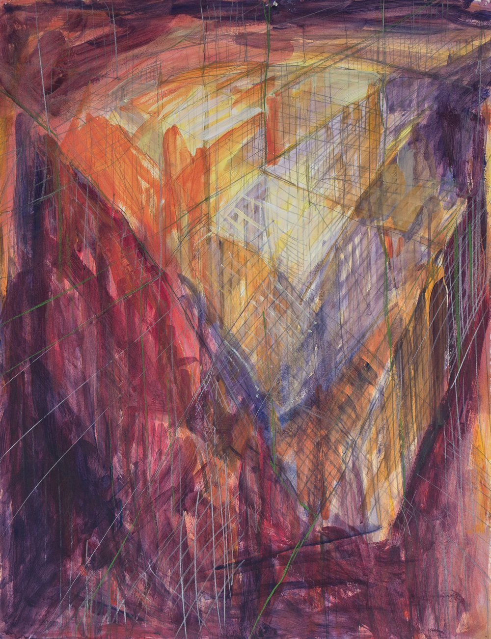 """warehouse  painting on paper  23""""x30""""  1,500.00"""