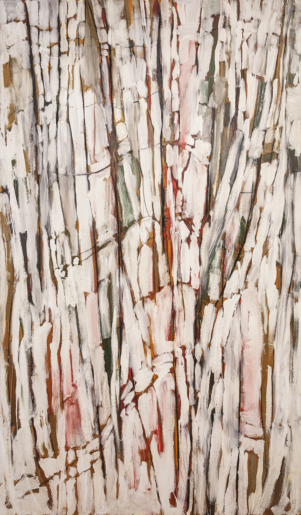 "bones  mixed media on wood panel  38.5""x66""  6,000.00"