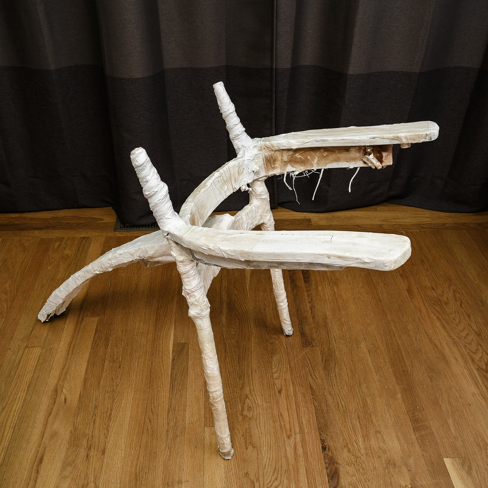 """walker  plaster and found objects  22""""w x 33""""h x 47""""d  4,000.00"""