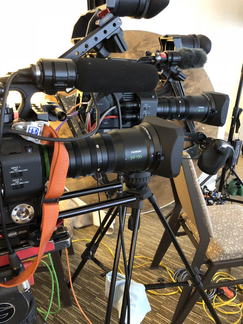 Twin Sony fs7 4K cameras with fujinon Cine lenses.