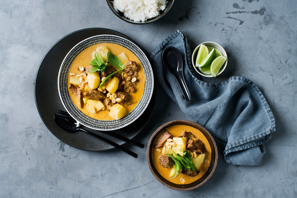 Beef massaman curry  $16.50 (Signature Thai dishes, Gluten-free)