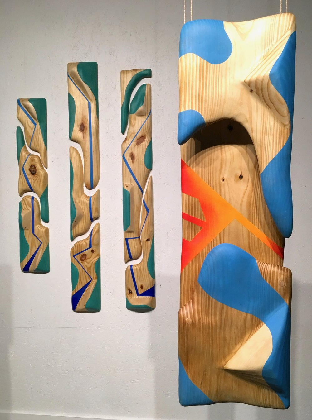 "Sunset: Part 2  (on right), Pine and spray paint, 12"" x 37,"" 2017."