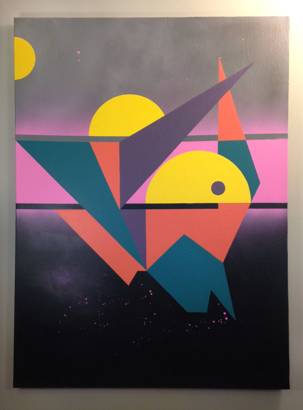 "Cosmic Horizon 1: Sailing Away , Spray paint and latex paint on canvas, 36"" x 48,"" 2016."