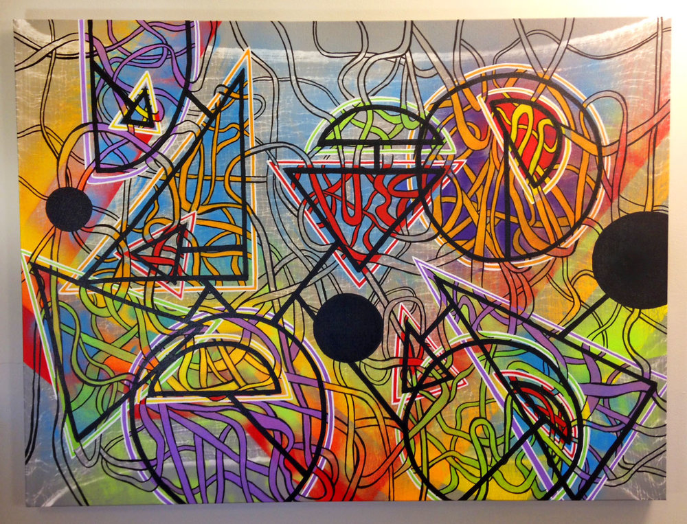 "Creative Process 1 , Spray paint and paint marker on canvas, 30"" x 40,"" 2016."