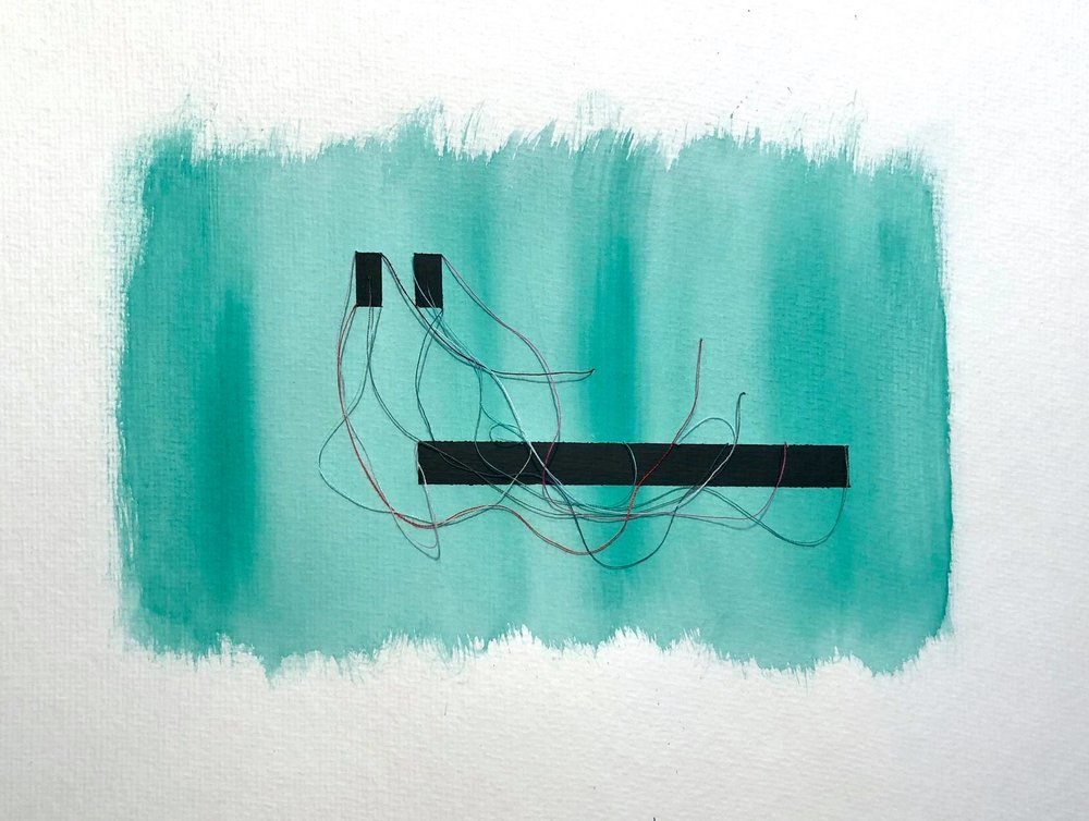 "Currents 2 , From the Making Connections series, Watercolor, acrylic, and thread on paper, 15.75x11.75,"" 2018."