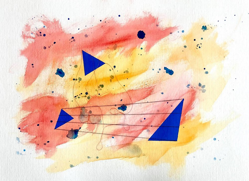 "Song 2 , From the Making Connections series, Watercolor, acrylic, and thread on paper, 15.75x11.75,"" 2018."