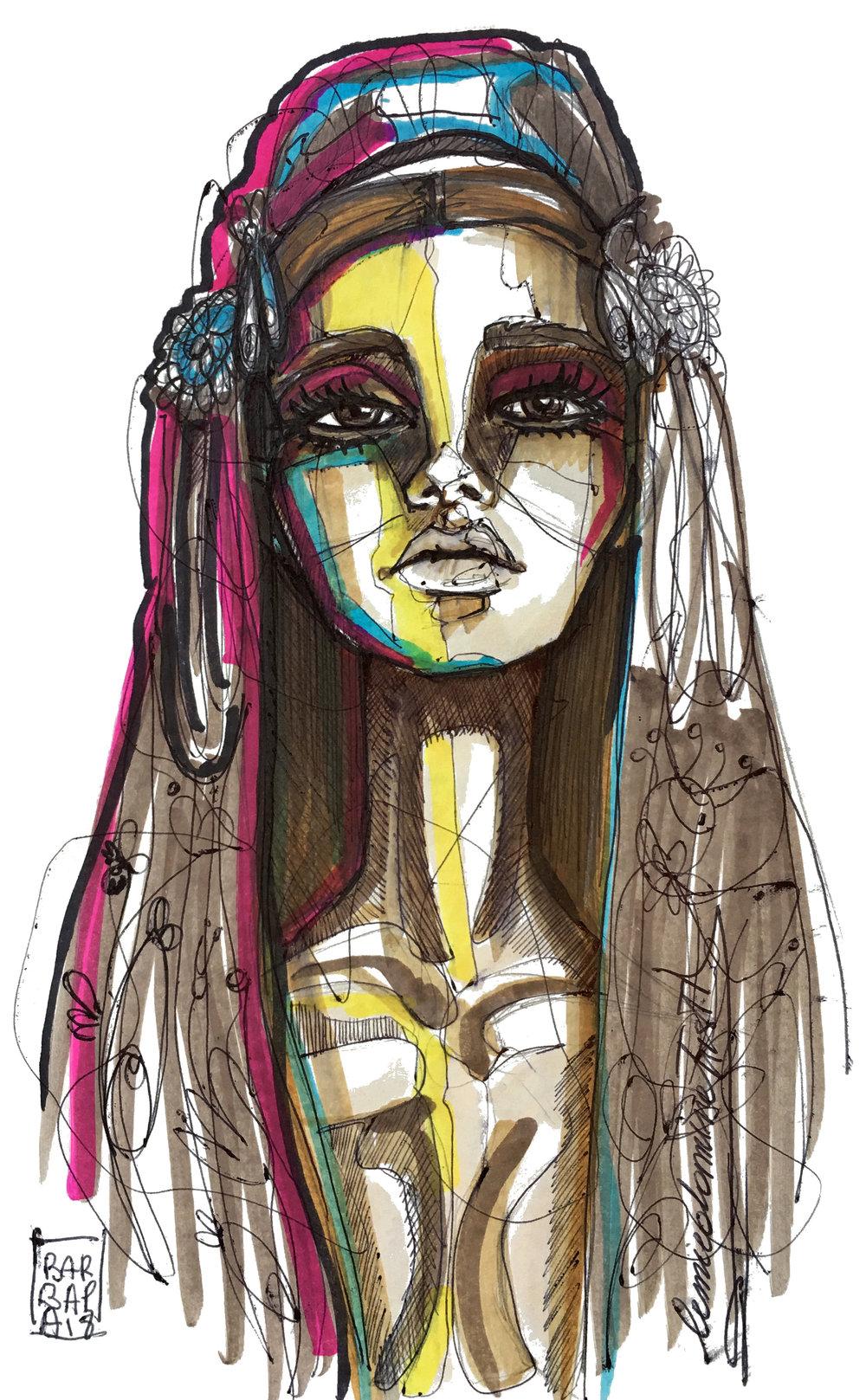sardinian woman - Pantone and pen on paper.