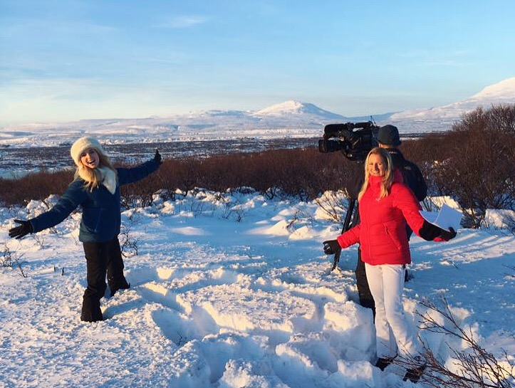 Presenting for Sky News on location in Iceland.