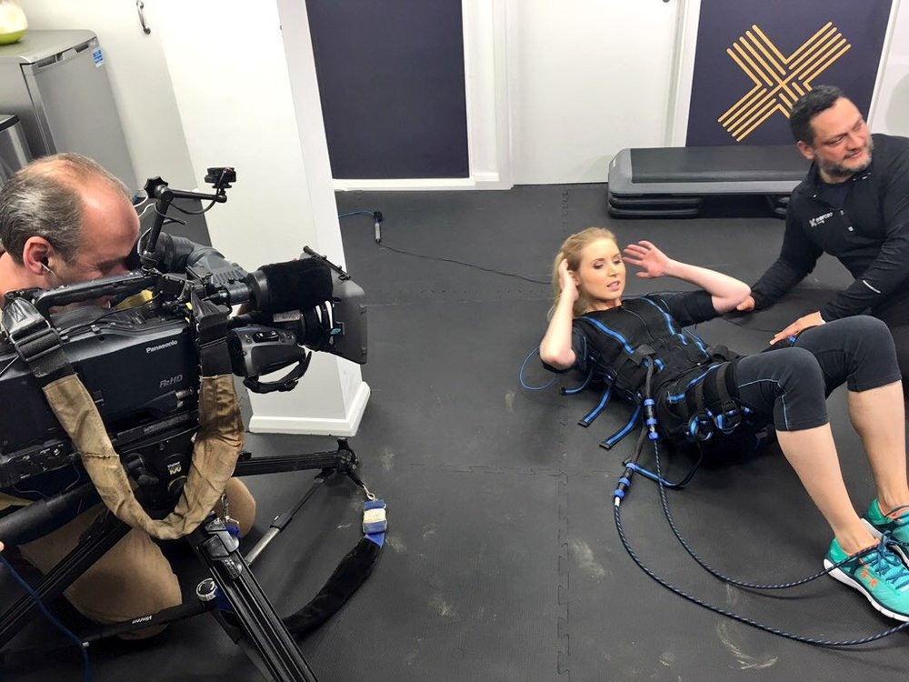 Testing an electrical muscle stimulation suit for one of my Sky News features