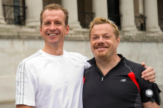 Greg with Eddie Izzard, who ran 43 marathons in 51 days. Picture: gregwhyte.com