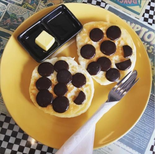 Gluten free buttermilk pancakes with dark choc chips