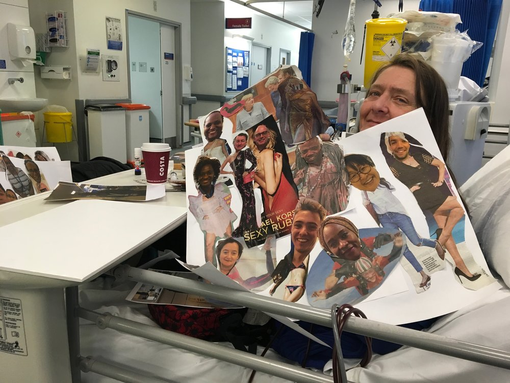 Deborah with her collage, Hammersmith Hospital.JPG