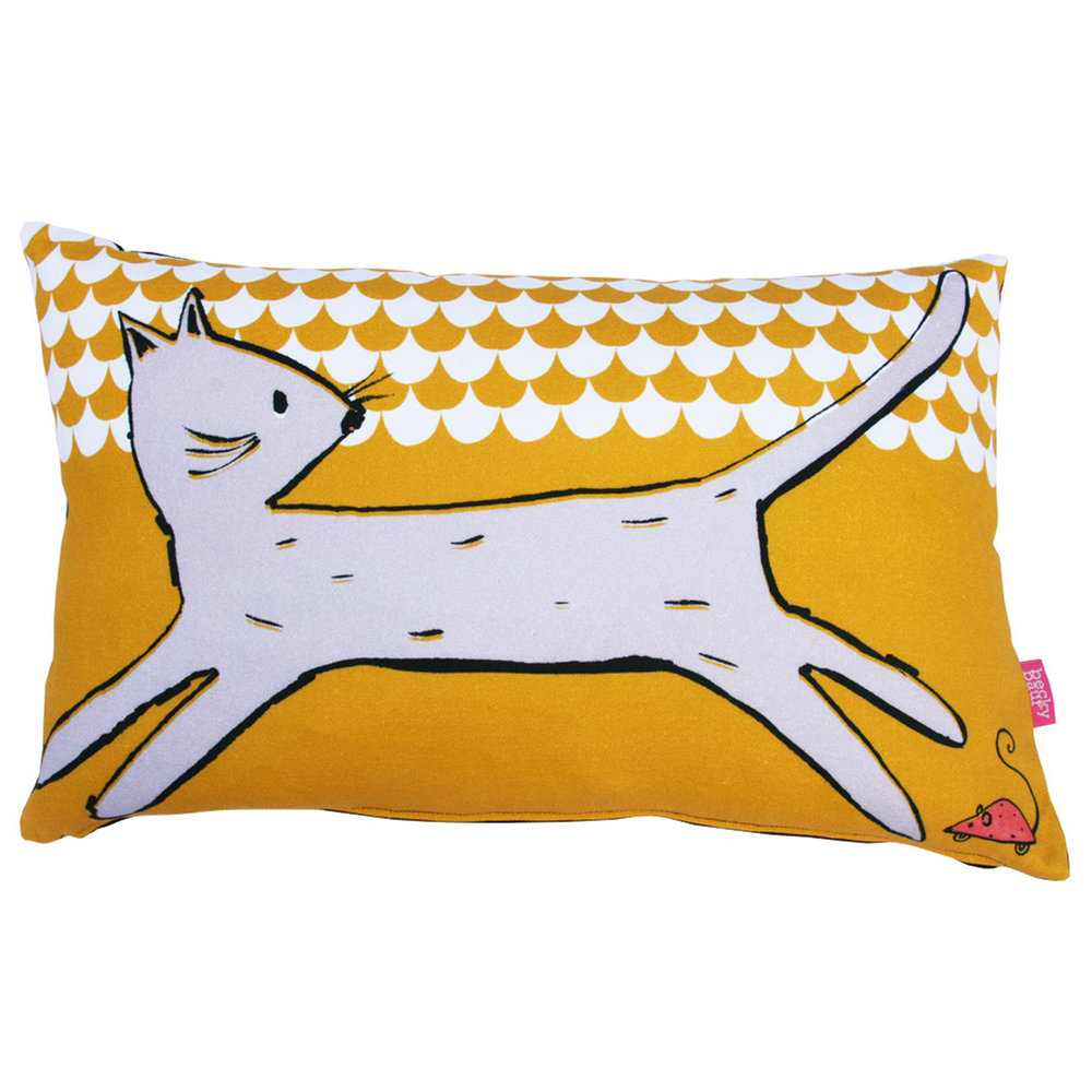 mustard scalloped cat and mouse cushion