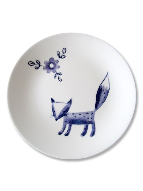 Blue fox plate made in Stoke on Trent