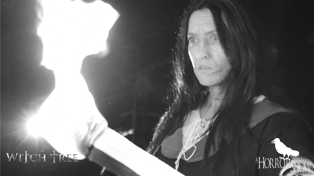 Ceejay Sargent on the set of The Witch Tree short horror film