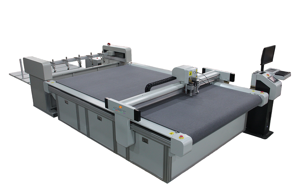 Andes Flatbed Cutter - We us this machine to produce high quality results consistently and efficiently. The Andes conveyor system provides easy removal of the materials and increases productivity. Features vision registration system and camera to increase accuracy. Ideal for cutting foamcore, dibond, styrene, printing fabric, light sheet, gridding cloth, flag fabrics, decals, PVC expansion sheet, corrugated paper, honeycomb board, and etc.