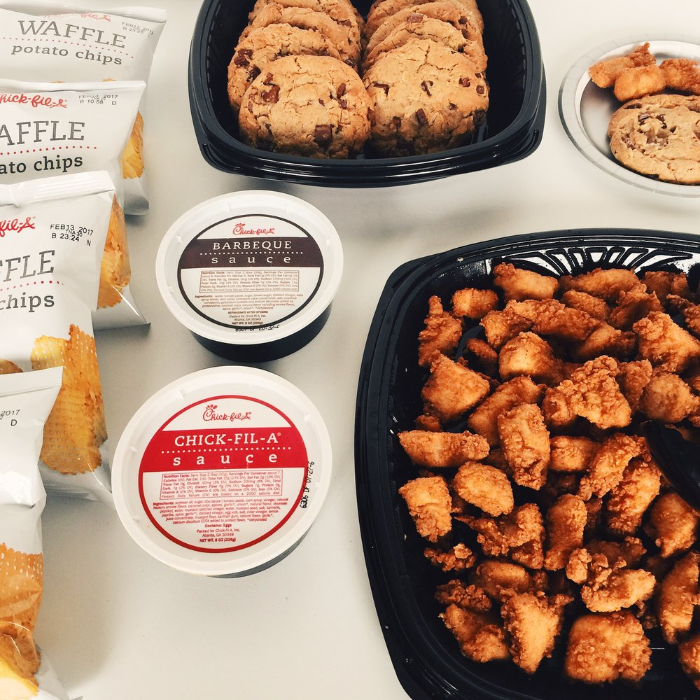 Chick-fil-A at your meeting. - Helps to keep everyone focused on the meetings agenda during lunch time.