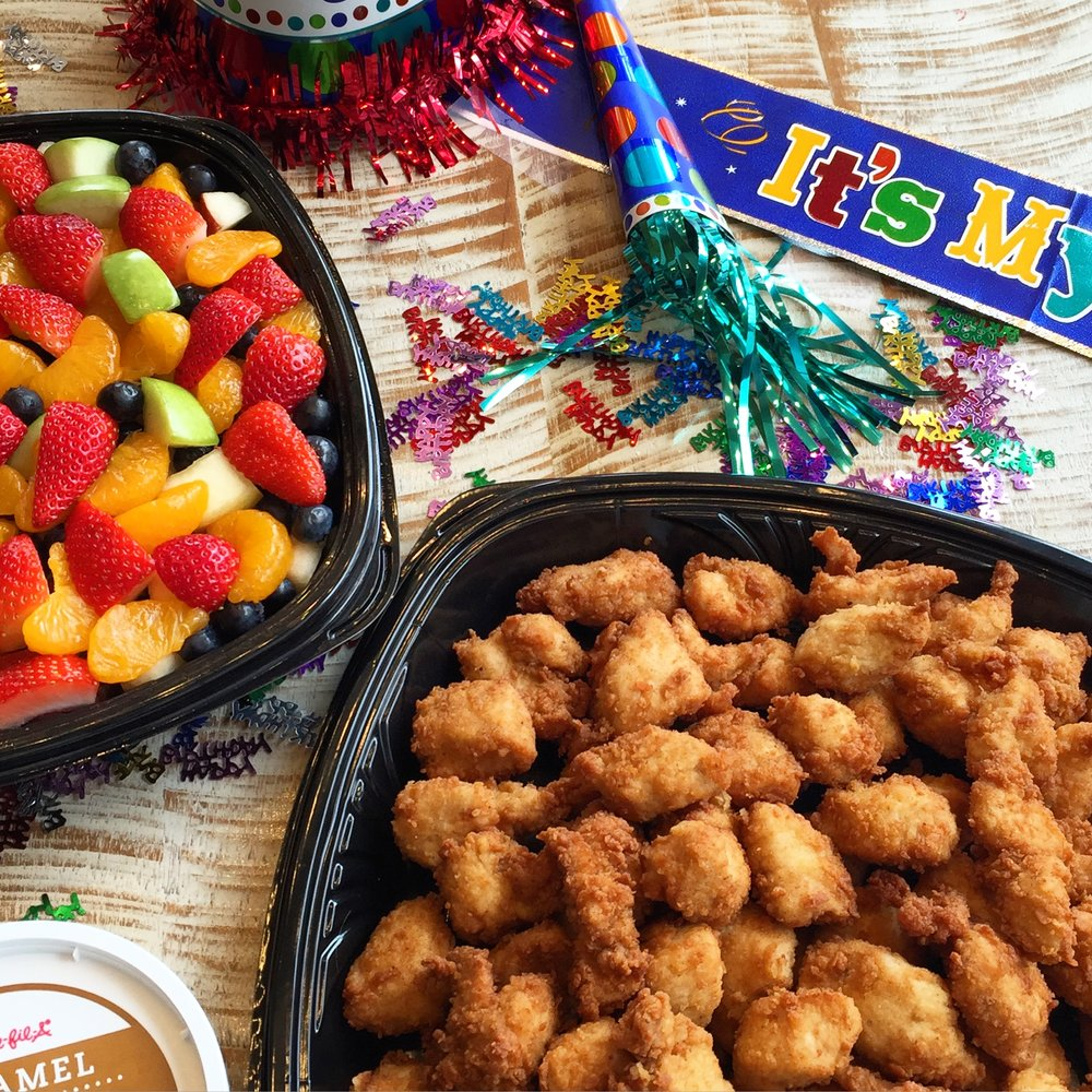 Where is the party? - The party is where the food is! Invite Chick-fil-A nuggets and fruit trays to your next party.
