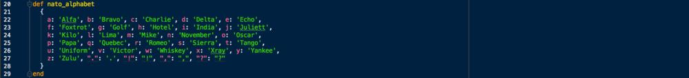 NATO Phonetic Alphabet Hash