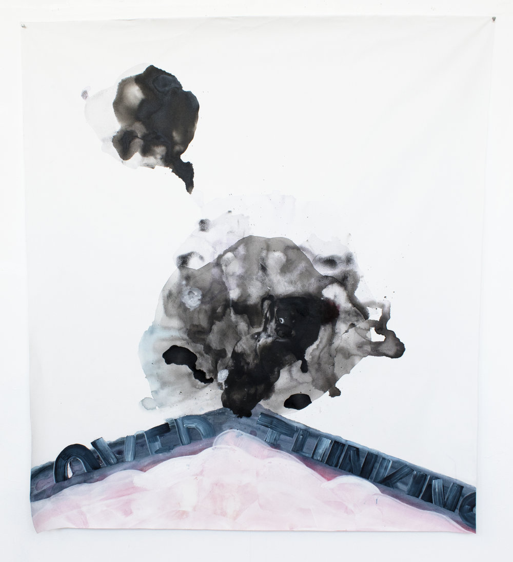 OVER thinking , 2017, ink and acrylic on canvas, 55.5 x 63.5 inches