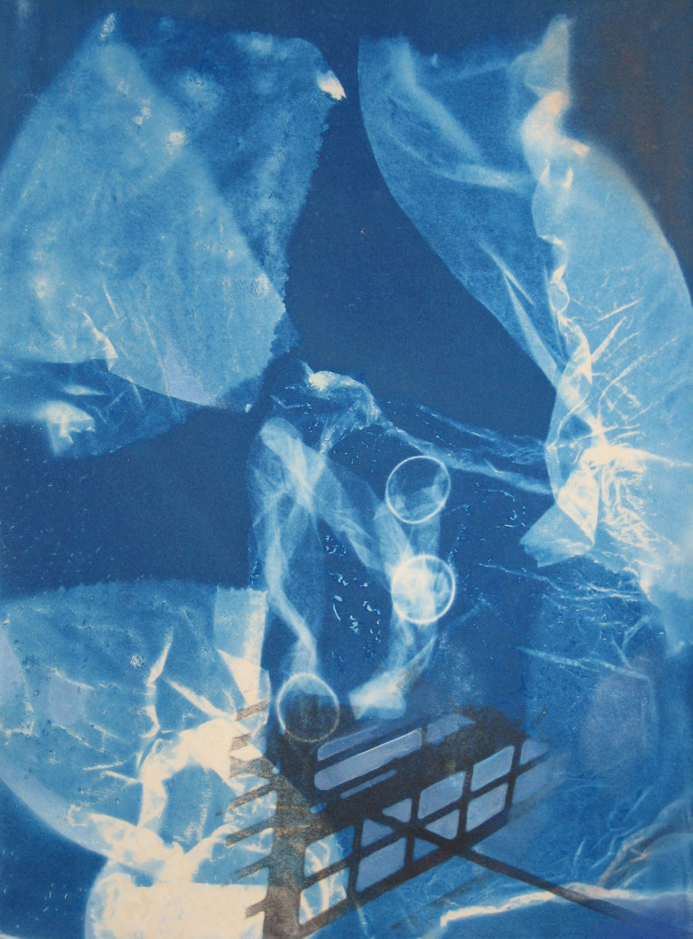 bed triptych , 2008, cyanotype, xerox transfer, watercolor, gesso, ink on paper, each part 20 x 26 inches