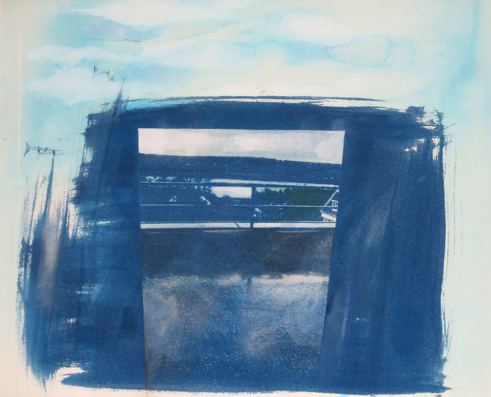 view of the Thames, New London , 2008, cyanotype, watercolor, conte crayon, and ink on paper, 12 x 12 inches