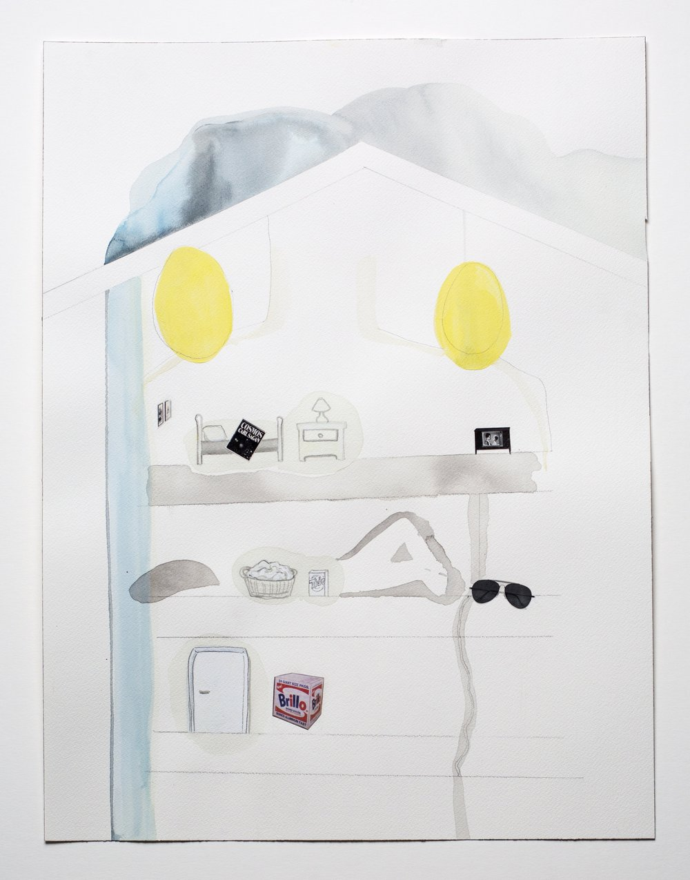 egg house , 2015, ink, gouache, and collage on paper, 18 x 24 inches