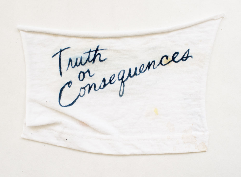 Truth or Consequences , 2016, cyanotype on t-shirt scrap