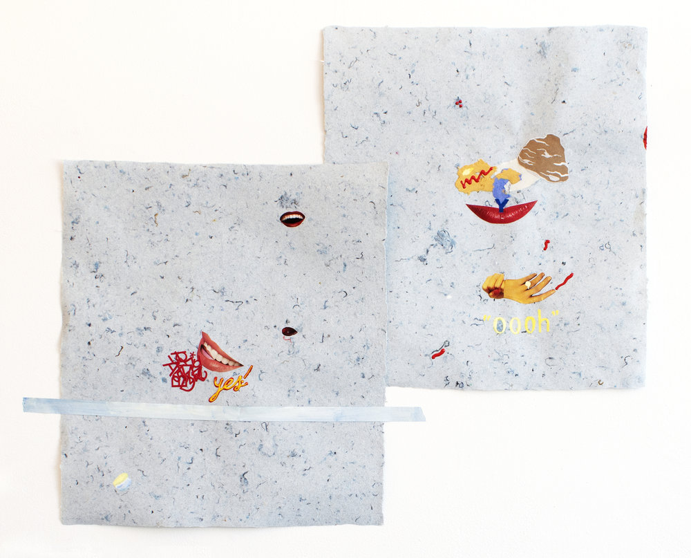 yes/ooh diptych , 2018, collage, gouache, painted painter's tape, and puff paint on handmade paper made out of denim insulation, 12 x 14 inches each