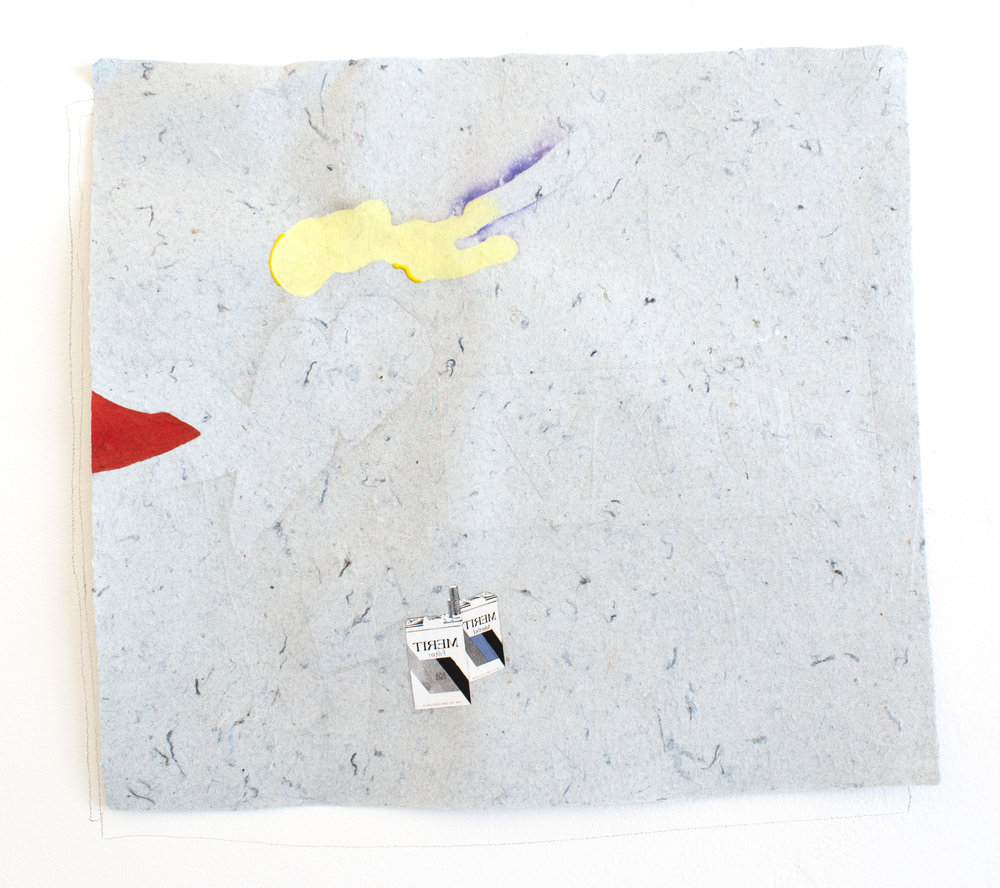 merit I , 2018, collage and gouache on handmade paper made out of denim insulation, and graphite on wall, 12 x 14 inches