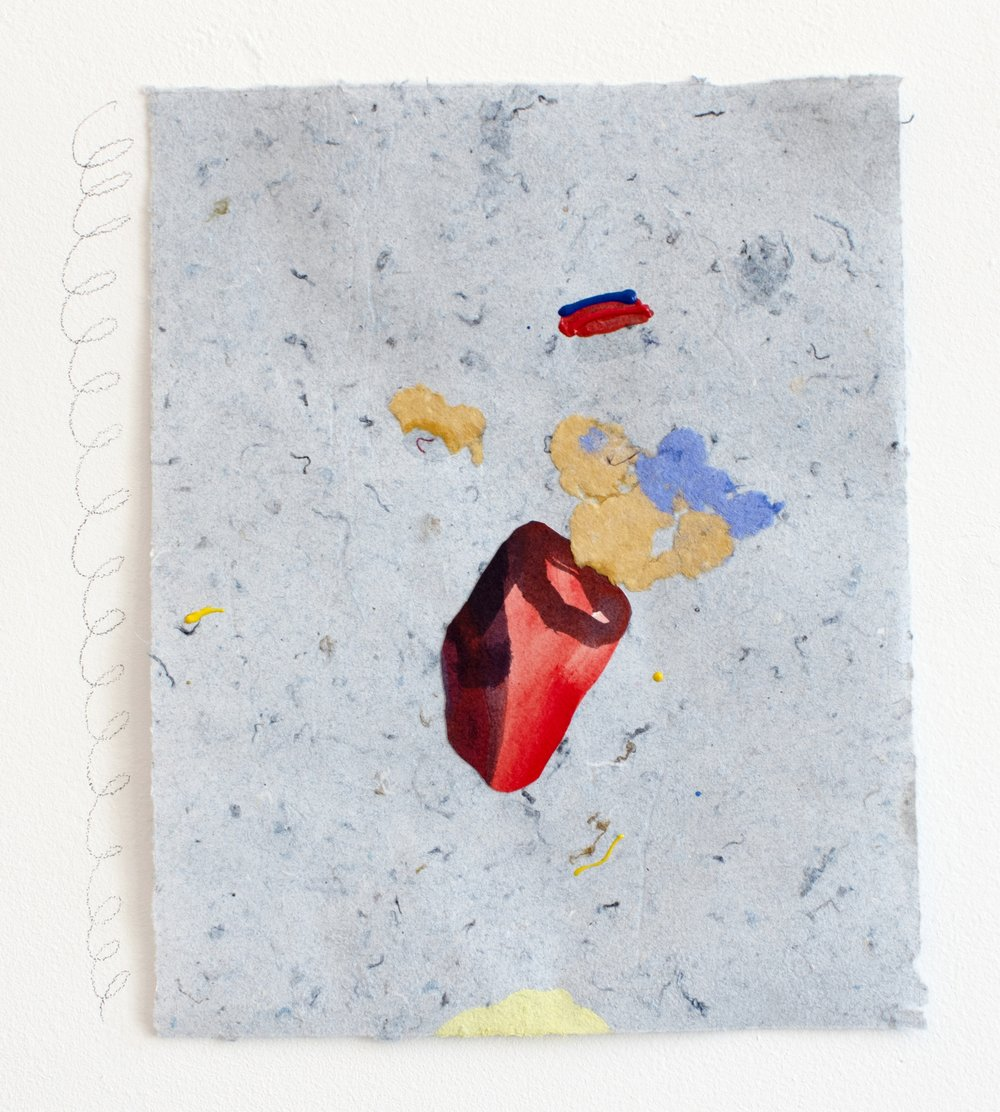 aorta denim , 2018, collage and puff paint on handmade paper made out of denim insulation, 9 x 12 inches