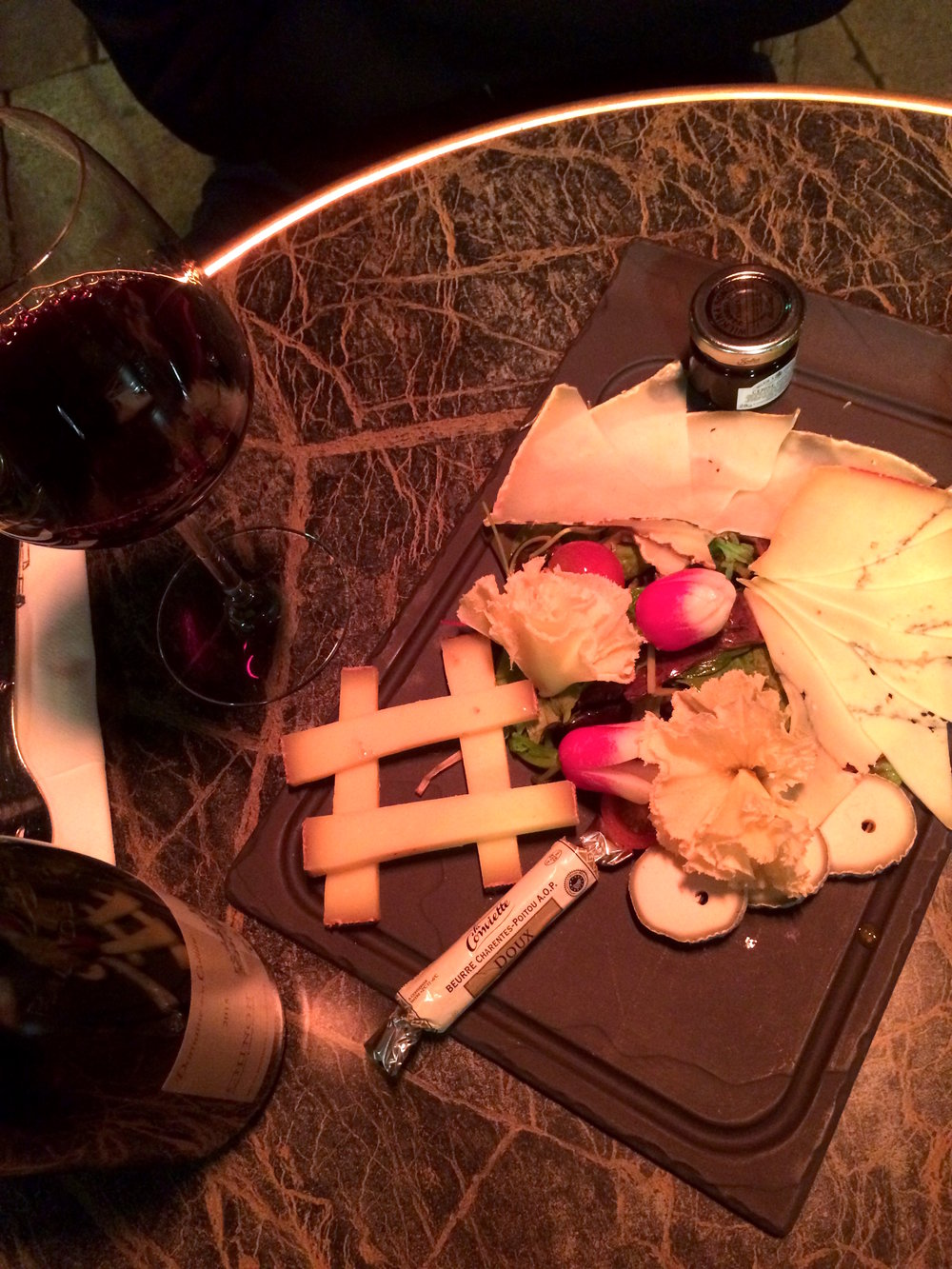 My very first activity after landing in Bordeaux: wine and cheese plate.